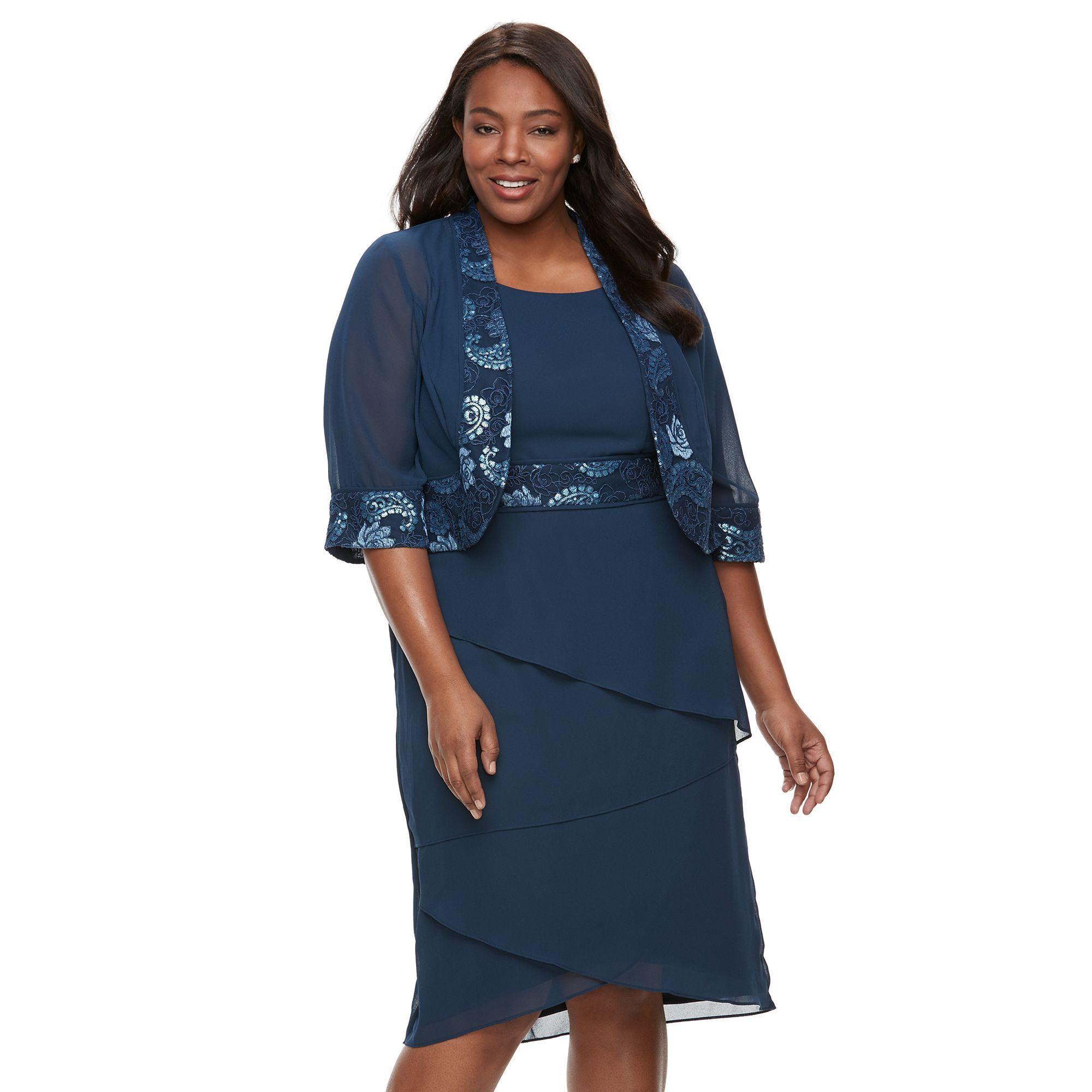 Plus Size Le Bos Lace Trim Jacket Tiered Dress Products
