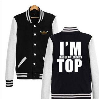 Estou League of Legends topo camisola para homens LOL jaqueta de beisebol XXXL