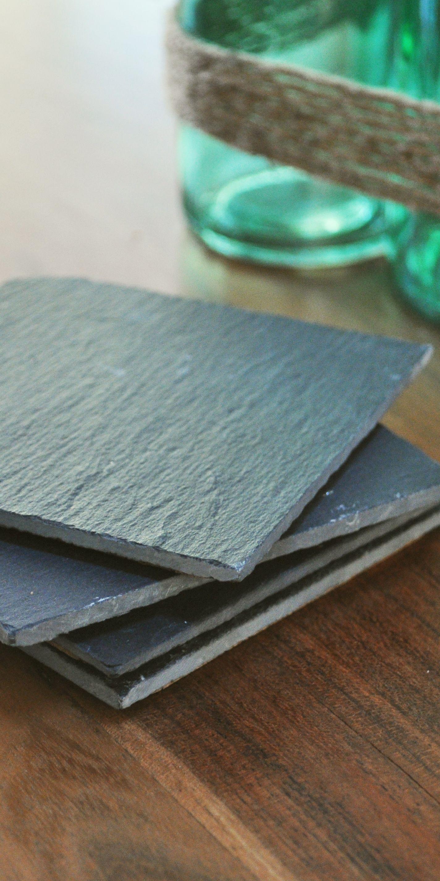 Slate Stone Coasters with Absorbent Cork Bottom | Slate coasters and ...