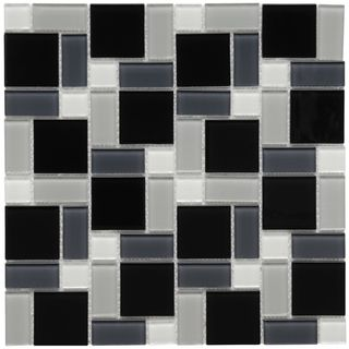 Somertile 12x12 In View Block Black White Glass Mosaic Tile Case Of 20 White Glass Mosaic Glass Mosaic Tile Backsplash Mosaic Glass