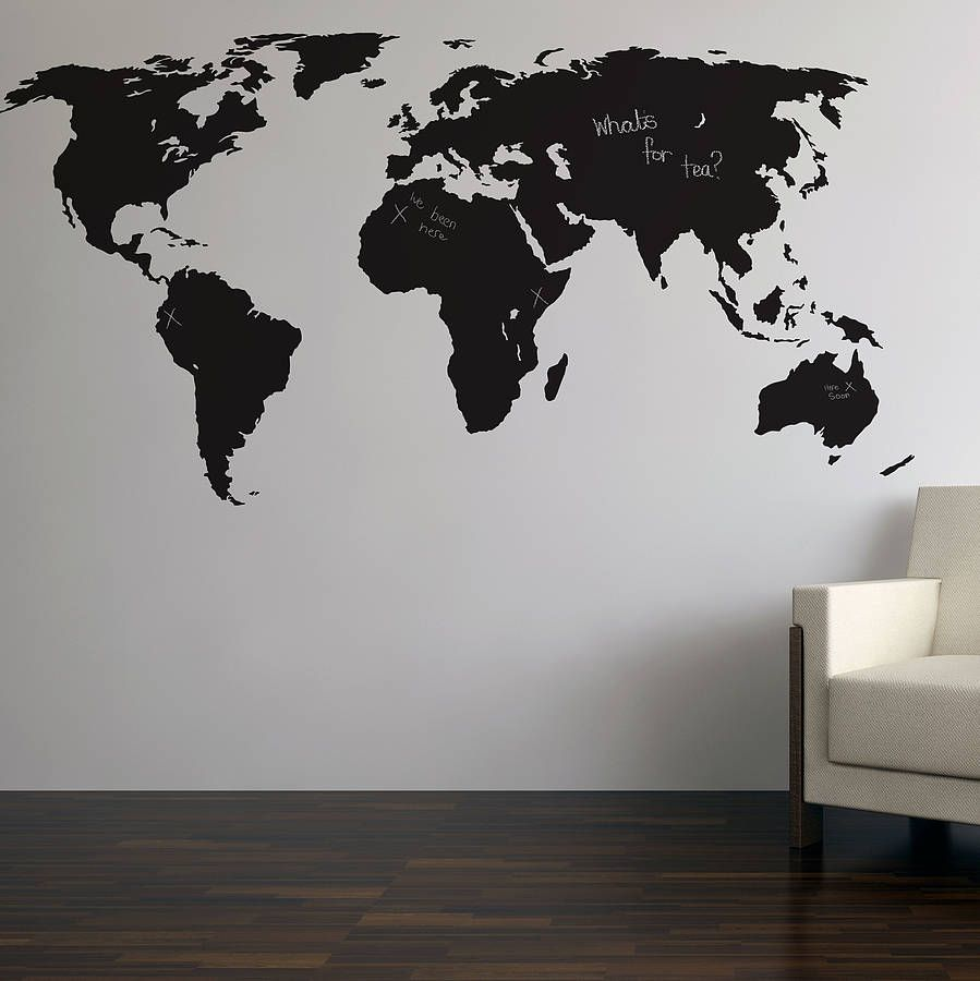 Chalkboard World Map Wall Sticker World Map Wall Chalkboard Wall Decal World Map Design