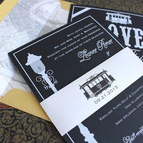 Modern Streetcar Wedding Invitation (White Ink) - New Orleans ...