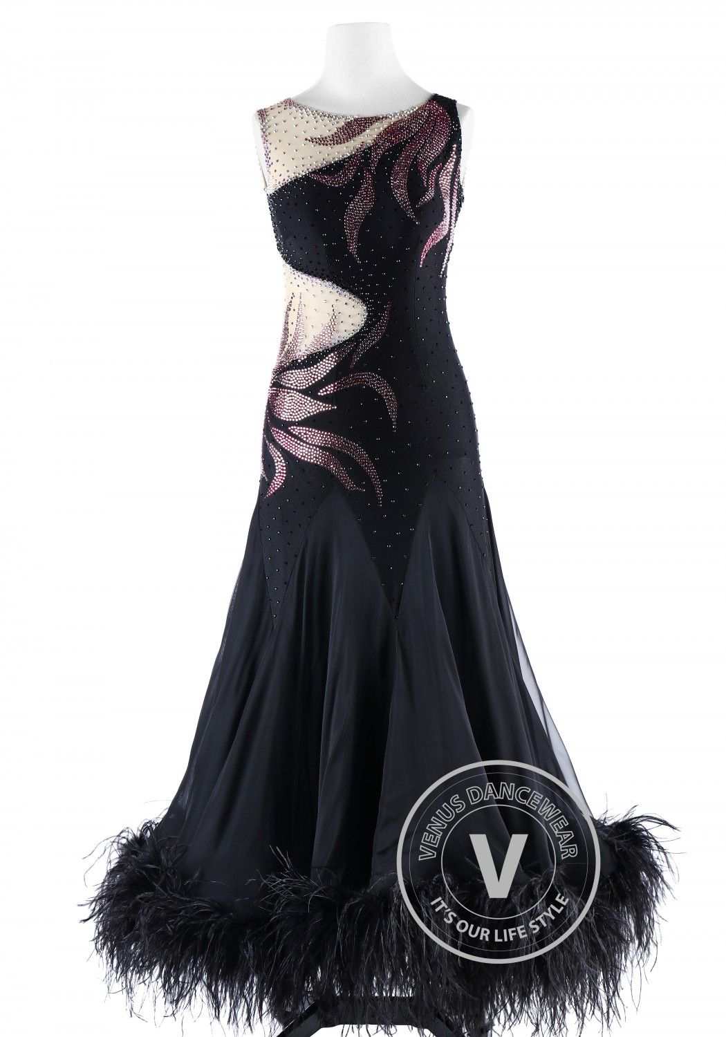 cfd35db87c1 Gorgeous Black Feather Ballroom Smooth Competition Dance Dress ...