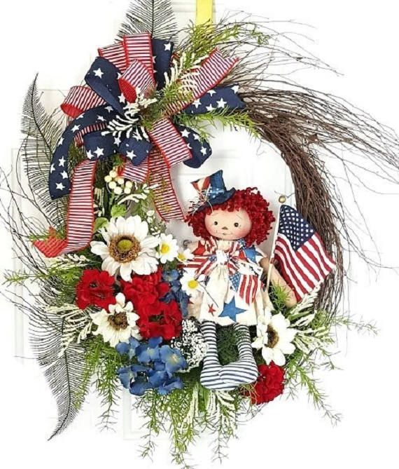 Burlap Wreath Front Door Ready to Ship Wreath 4th July Wreath Flag Wreath Summer Wreath Rustic Patriotic Wreath