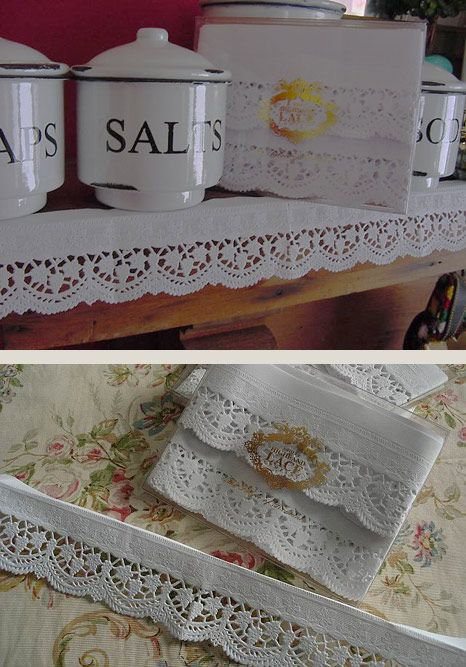Gorgeous vintage-look lace shelf edging you can order here ... on kitchen flooring paper, kitchen design paper, kitchen countertops paper, kitchen cabinets paper, kitchen table paper, kitchen wall shelves,