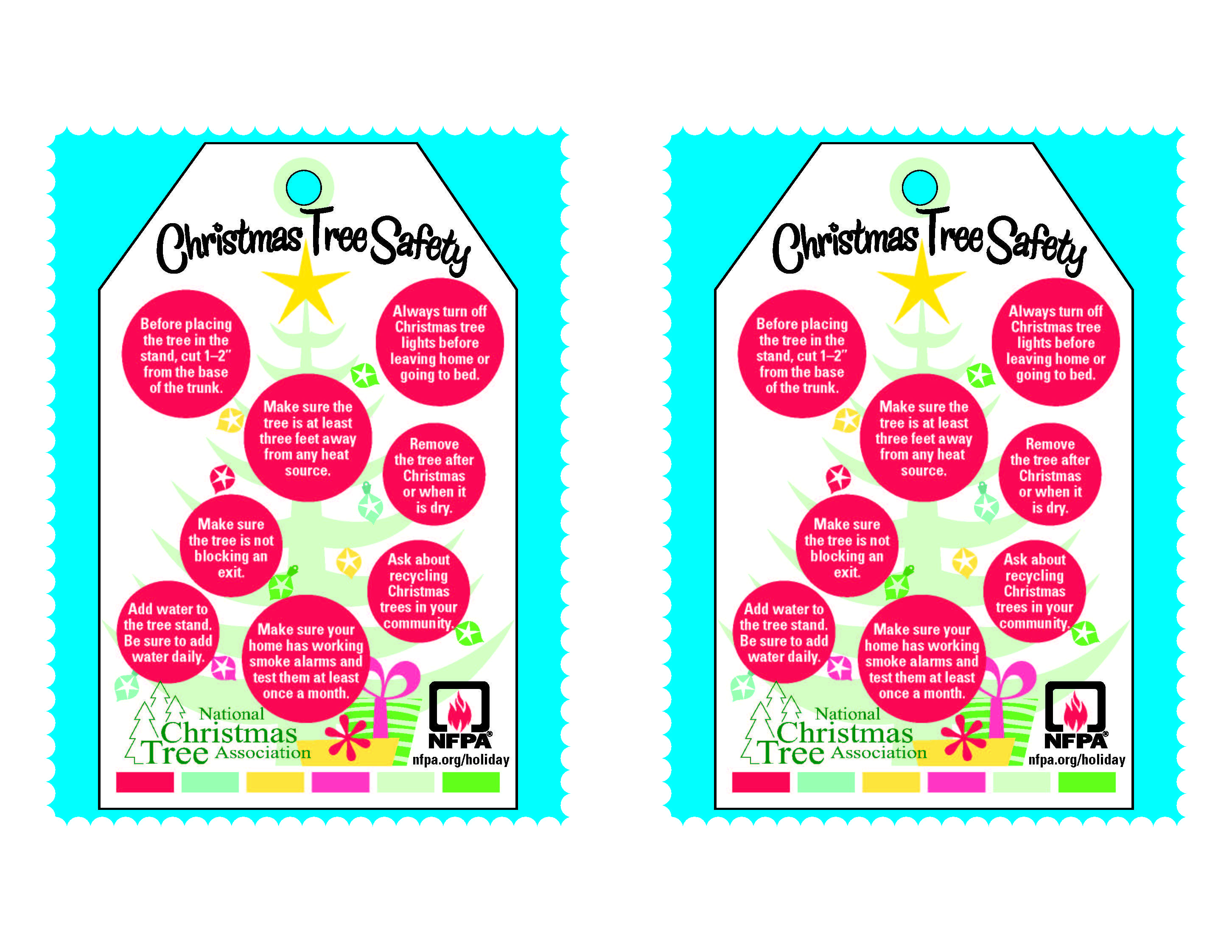 Printable Christmas tree tags with fire safety tips from