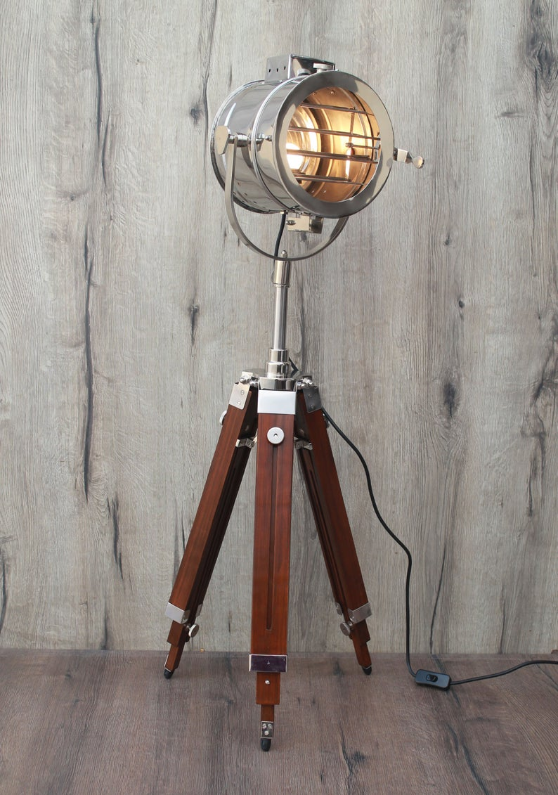 Brown Vintage Nautical Spotlight Floor Lamp Easter Gifts Wedding Gift Home Decor Office Decor Hotel Lobby Emporia Decors In 2020 Tripod Floor Lamps Spotlight Floor Lamp Tripod Floor