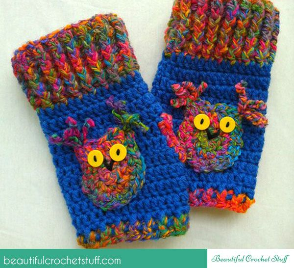How To Crochet Fingerless Owl Gloves (including pattern) | Proyectos ...