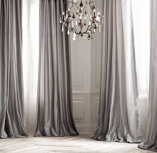 Silk Taffeta Pavilion Stripe Drapery Rideaux Decoration Interieure Decoration Maison