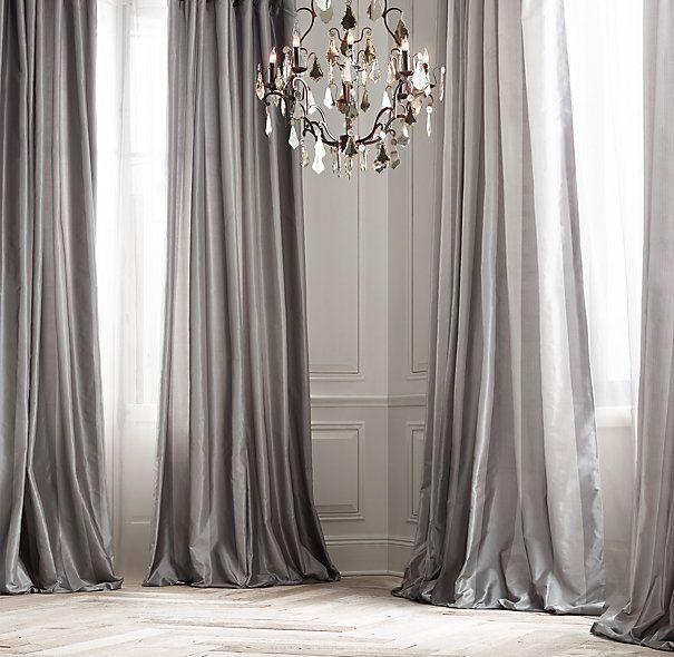 Silk Taffeta Pavilion Stripe Drapery Silk Curtains Handmade