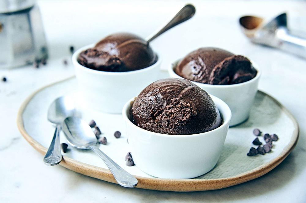 Dark Chocolate Sorbet Recipe Chocolate Sorbet Sorbet Recipes Frozen Chocolate