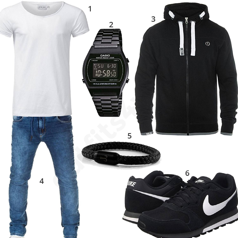 herren outfit in schwarz mit wei em shirt m0318 outfit f r m nner 2018 pinterest armband. Black Bedroom Furniture Sets. Home Design Ideas
