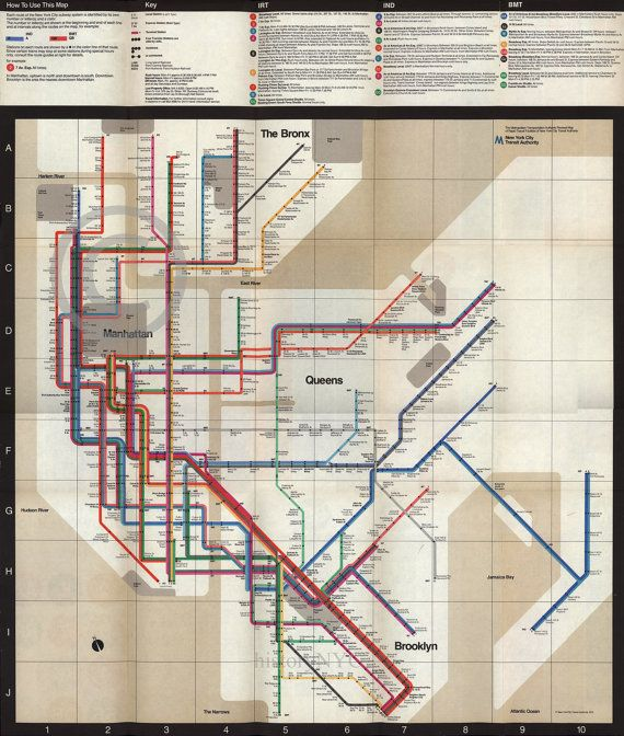 Massimo Vignelli 1972 Nyc Subway Map.1972 Massimo Vignelli New York Subway Map Vintage By Historyimage