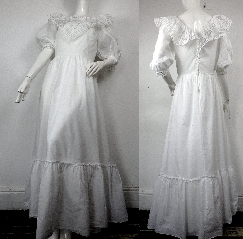 1980s Puffed Sleeve Dress / 80s Wedding Dress / Vintage