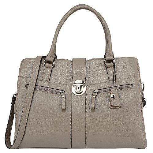 1de8539195a1 Banuce Gray Real Leather Handbags for Women Business Work Briefcase ...