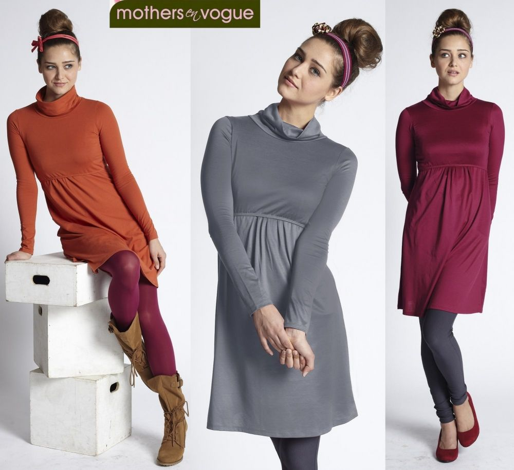 a596f9b9a532a Mothers En Vogue Must Have Nursing Turtleneck Dress in Paprika, Moonmist or  Cherry Red at Mommygear.com