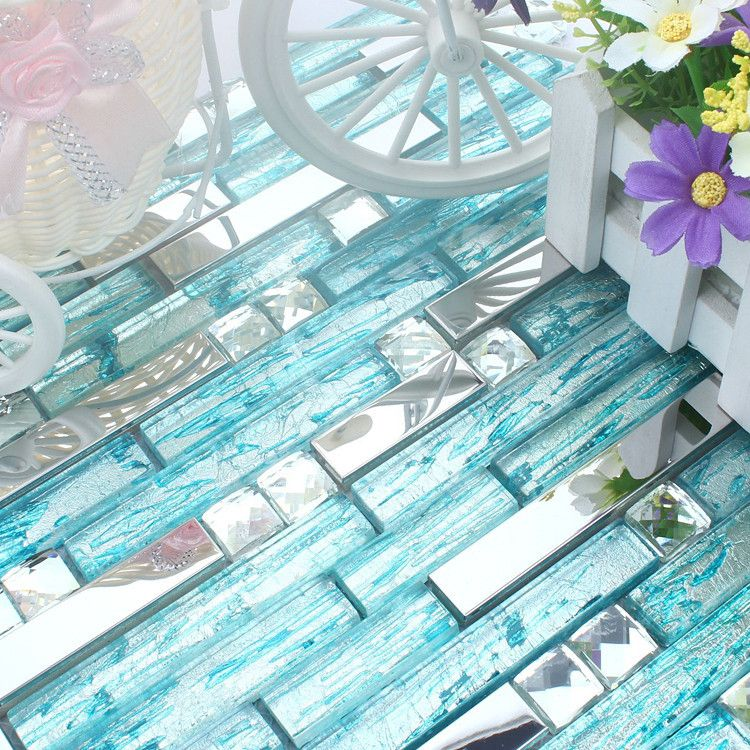diamond strip blue glass mixed stainless steel mosaic tiles for