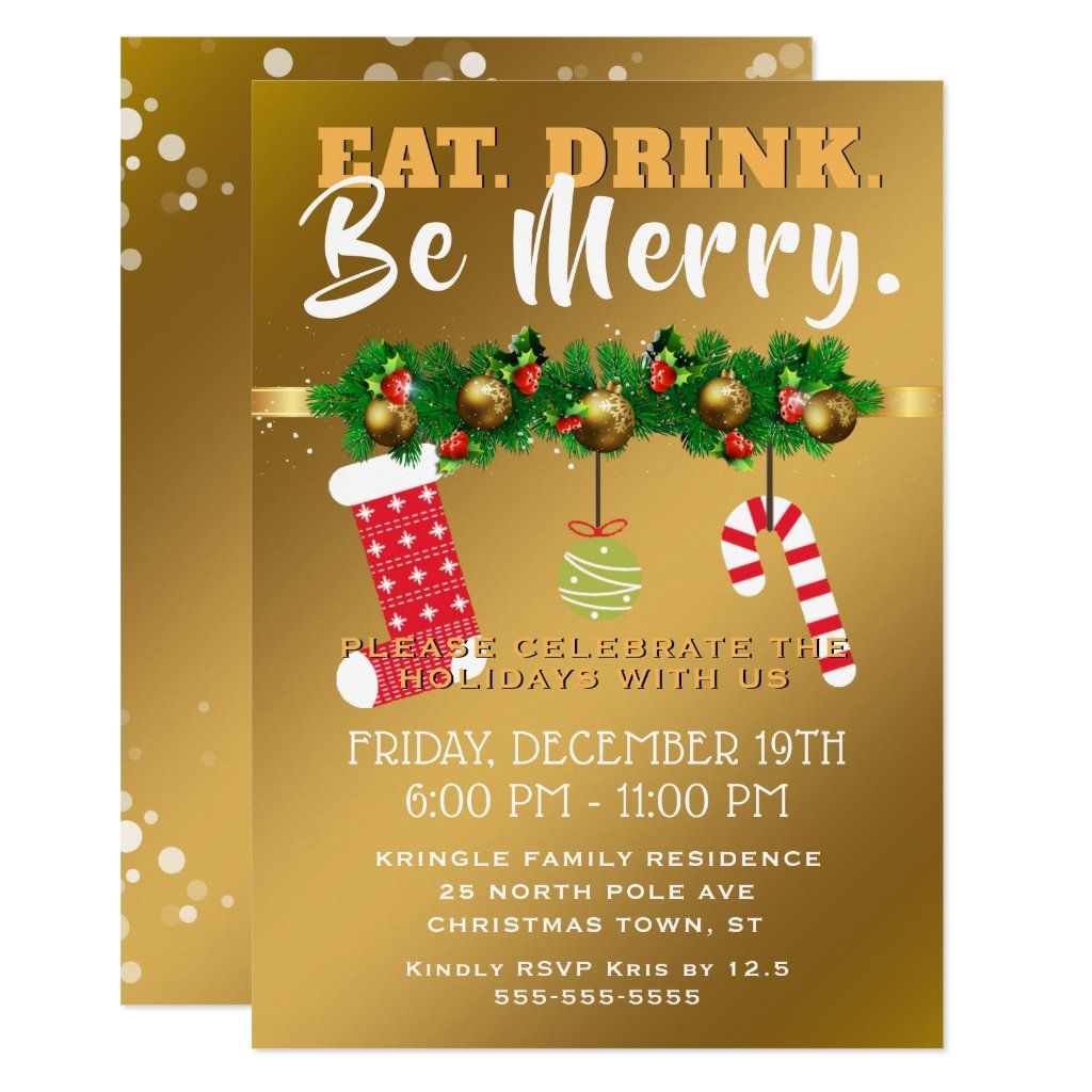 Eat Drink Be Merry Festive Gold Holiday Party Invitation