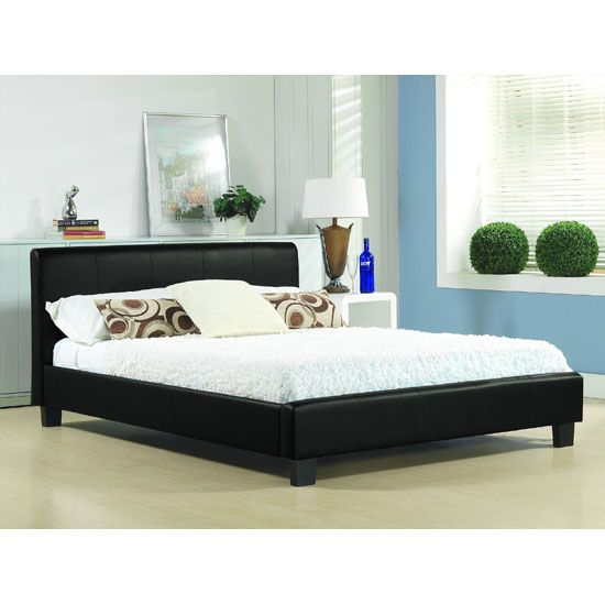 Hamburg Black Faux Leather Double Bed Bedroom Leather