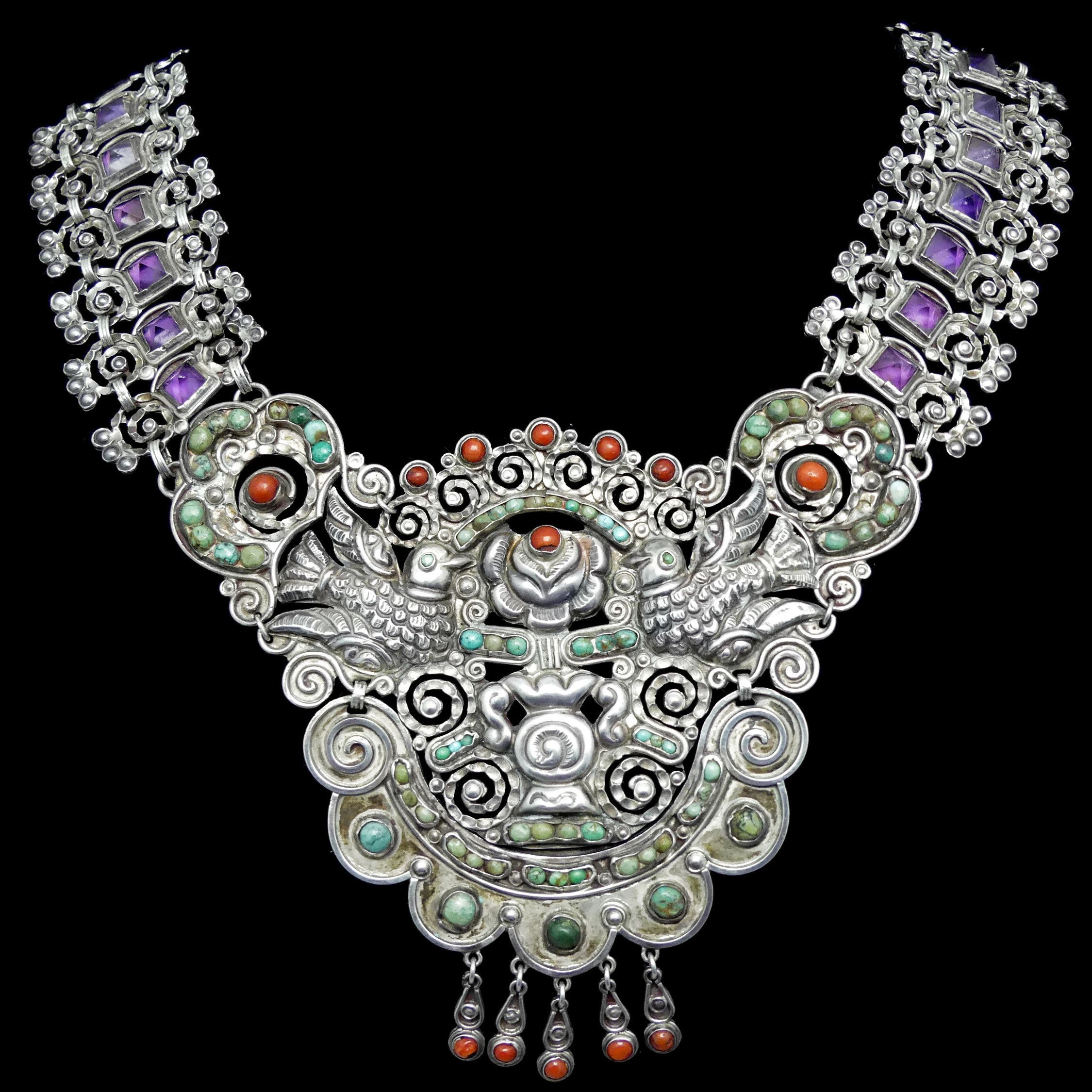 Matl Matilde Poulat Palomas Amethyst Turquoise Coral Necklace Vintage Silver Jewelry Mexican Silver Jewelry Jewelry