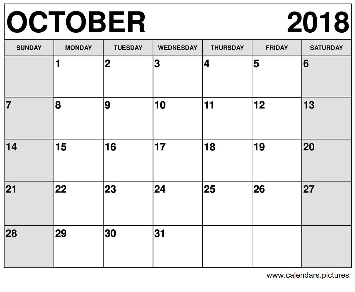 Monthly October 2018 Calendar Timetable Template