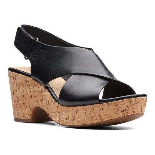 Women's Clarks Maritsa Lara Platform Sandal Black Leather