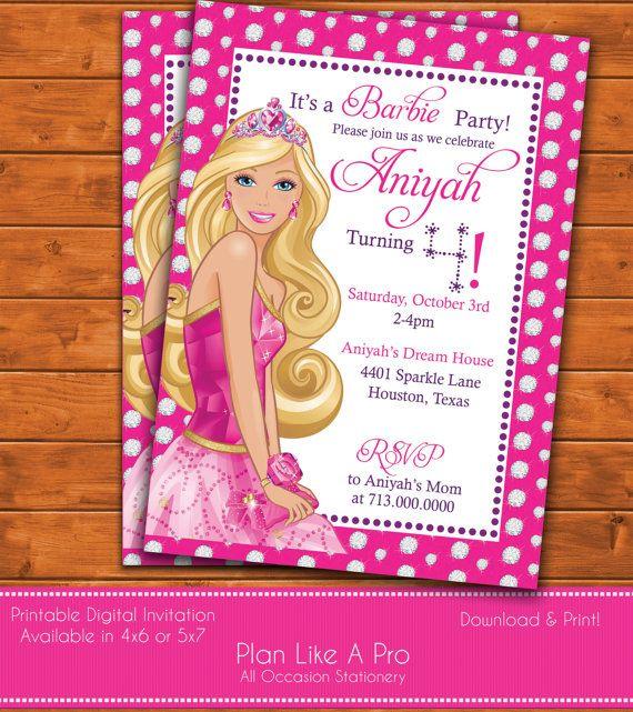 barbie invitation barbie birthday