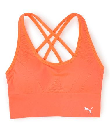 Another great find on #zulily! Orange Criss-Cross Back Seamless Sports Bra - Women #zulilyfinds