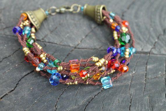 Beaded Gypsy Hippie Boho Bracelet / Colorful Chunky by byHamelin