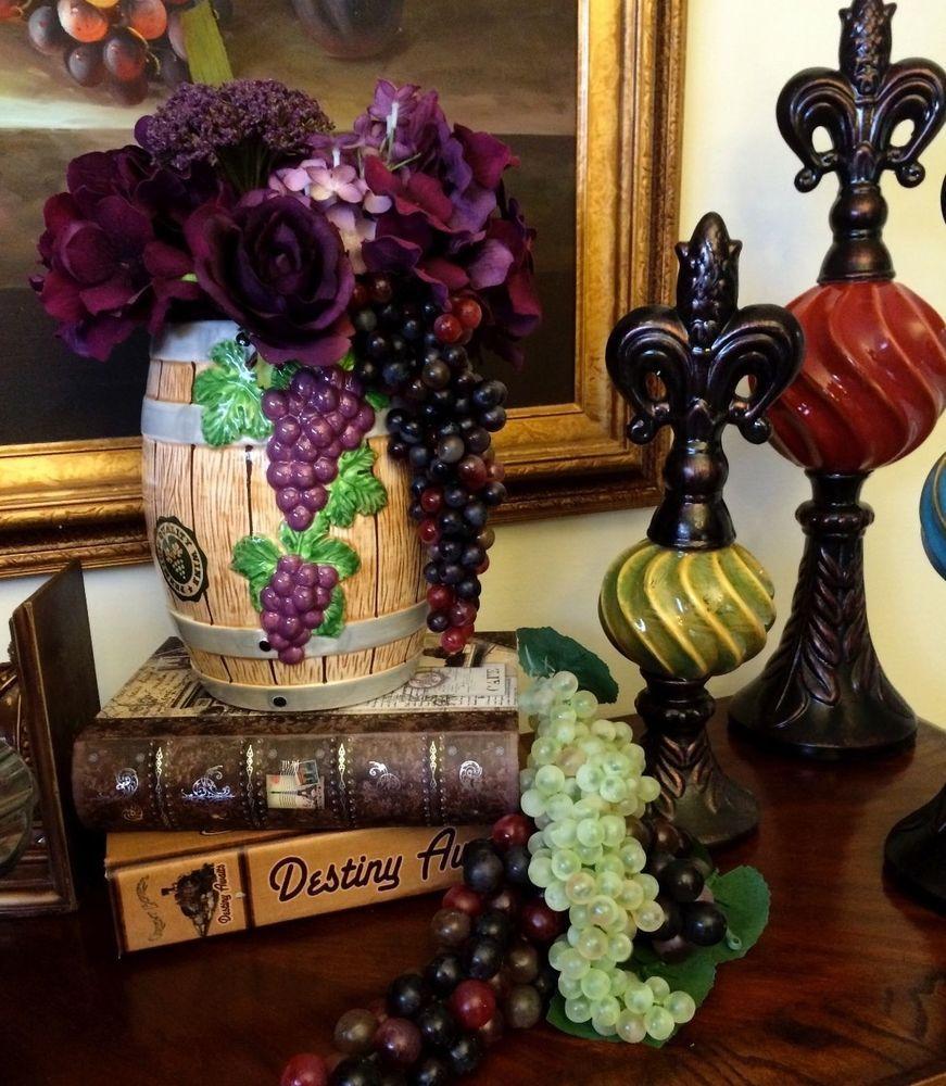 Fitz & Floyd Wine Country Barrel Bottle Utensil Holder Vase Wine Bar Decor Vino