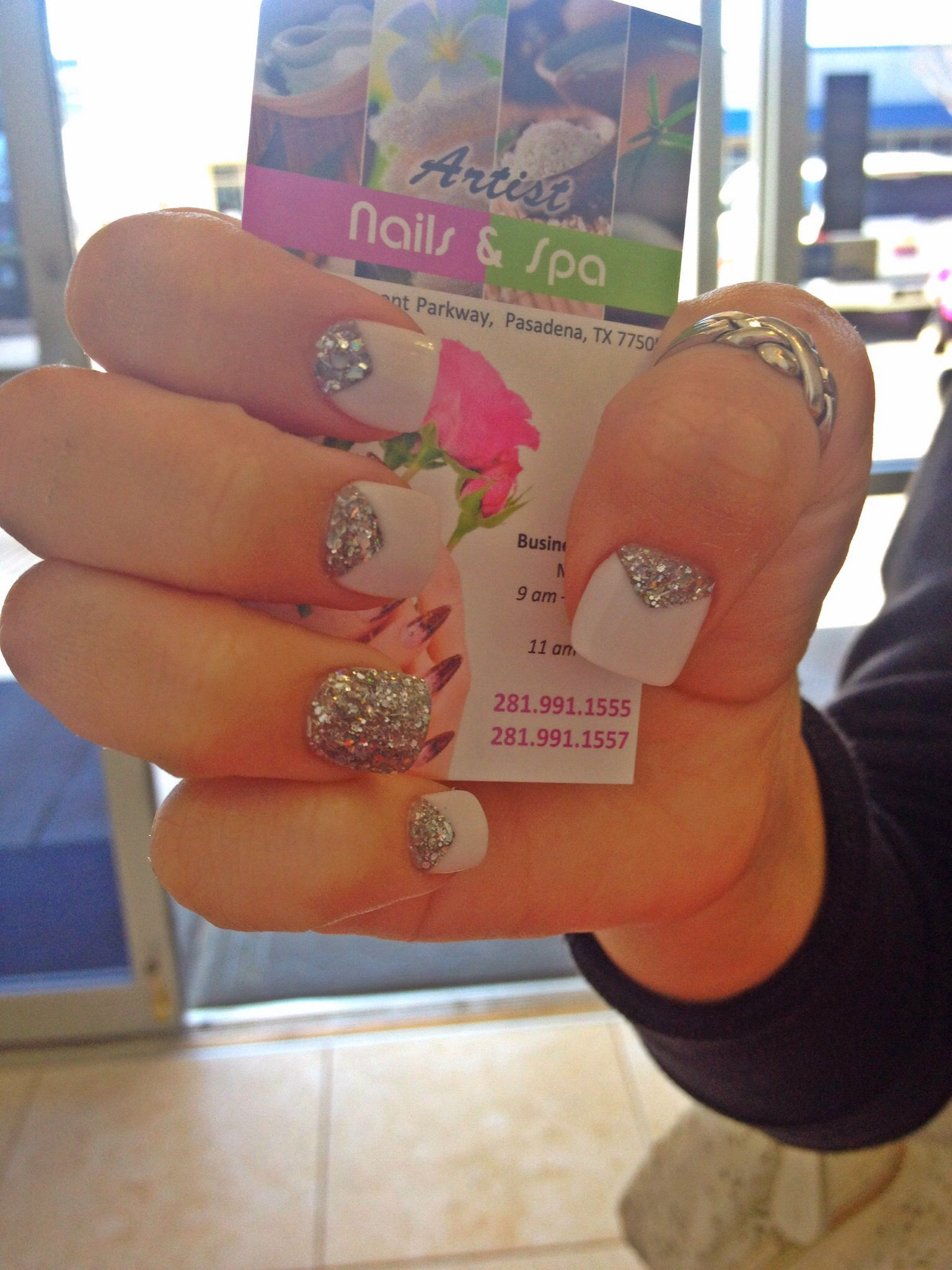 French v-cut nails with silver glitter | ARTIST NAILS AND SPA ...