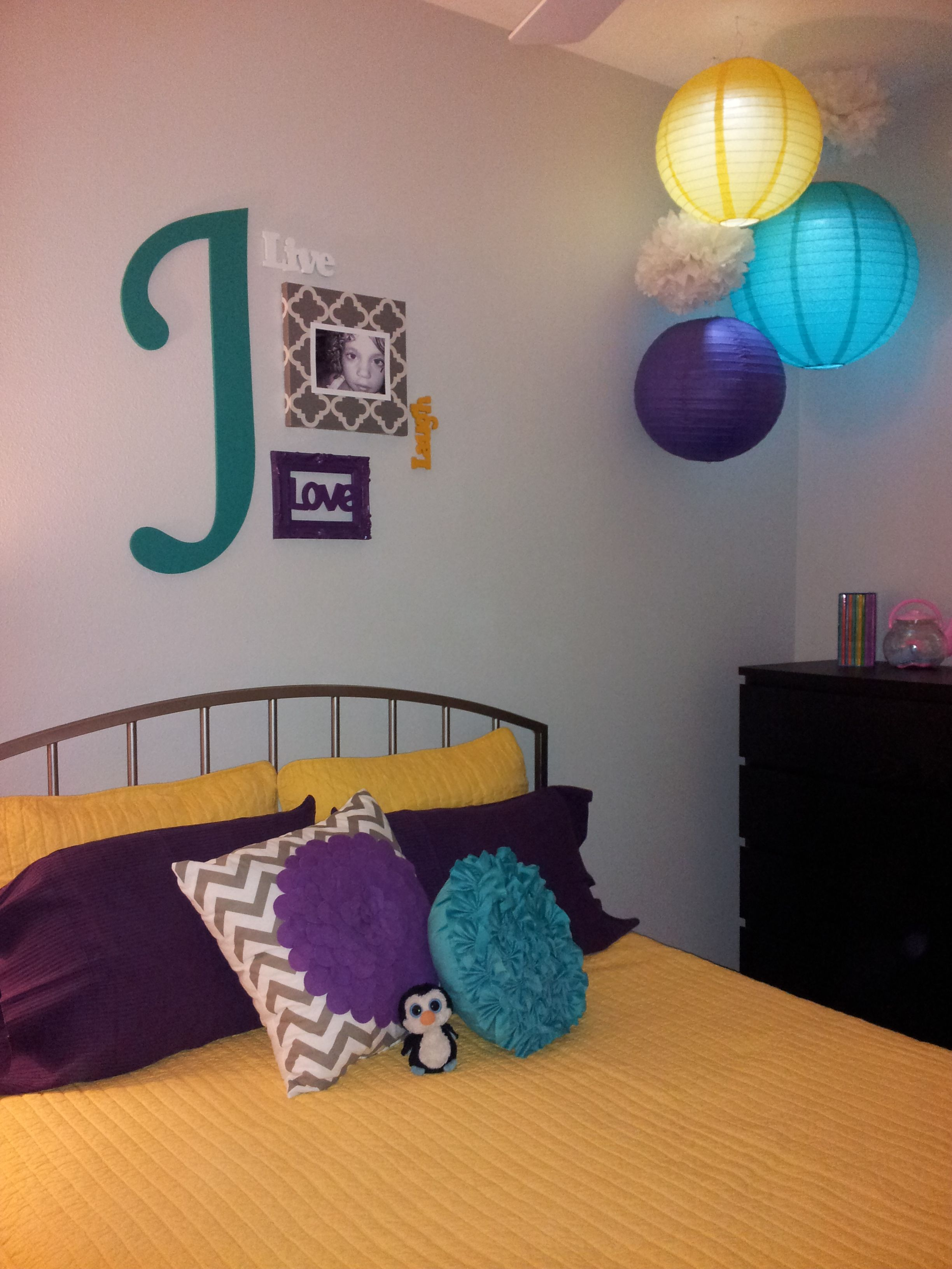 marvellous purple teal bedroom ideas | Yellow, purple and teal girl's room.This is kind of what I ...