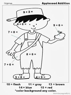 Free Johnny Appleseed Printable Math Page Johnny Appleseed Activities Johnny Appleseed Craft Apple Seeds
