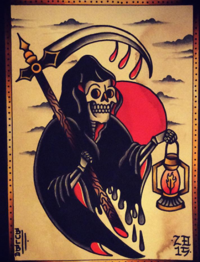 Traditional Reaper Tattoos : traditional, reaper, tattoos, @_bulba_, Traditional, Tattoo,, Reaper, Tattoo