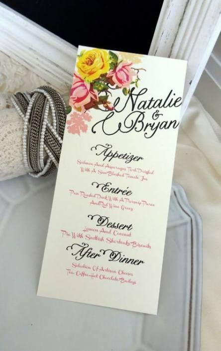 best diy wedding menu cards shabby chic ideas wedding