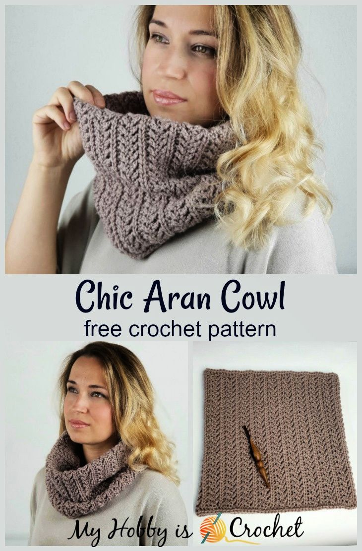 Chic Aran Cowl - Free Crochet Pattern #crochetscarves