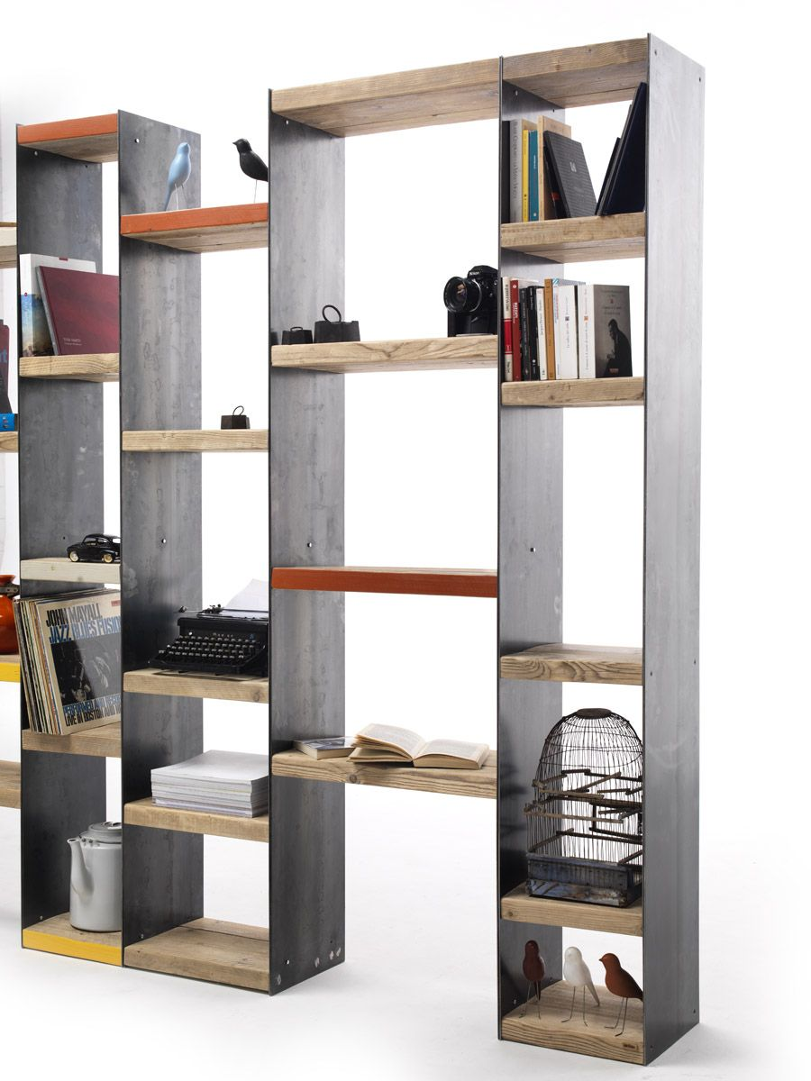Open double-sided sectional spruce bookcase MOBY - Vontree