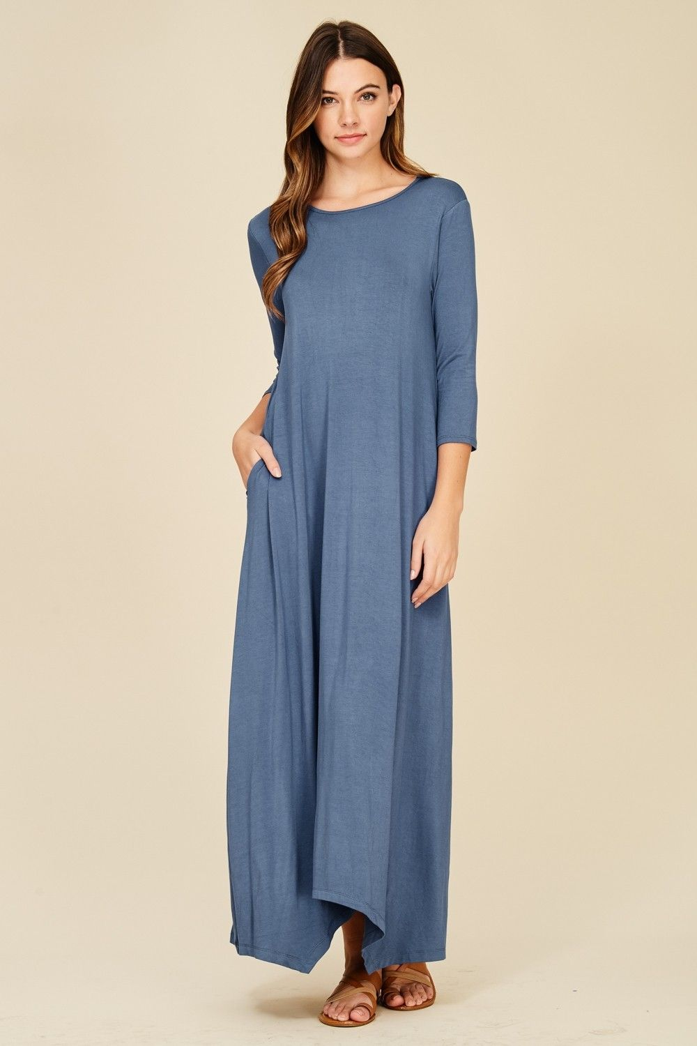 04c86729f1 3 4 Sleeve Maxi Dress Style  D5212 Knit dress featuring solid