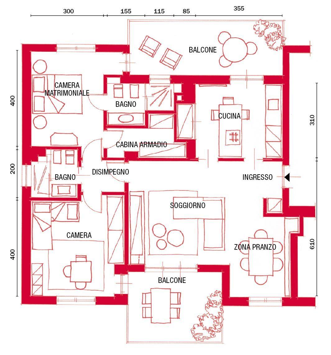 Progetto Appartamento 85 Mq in 96 mq ricavare il secondo bagno e la cabina armadio (con