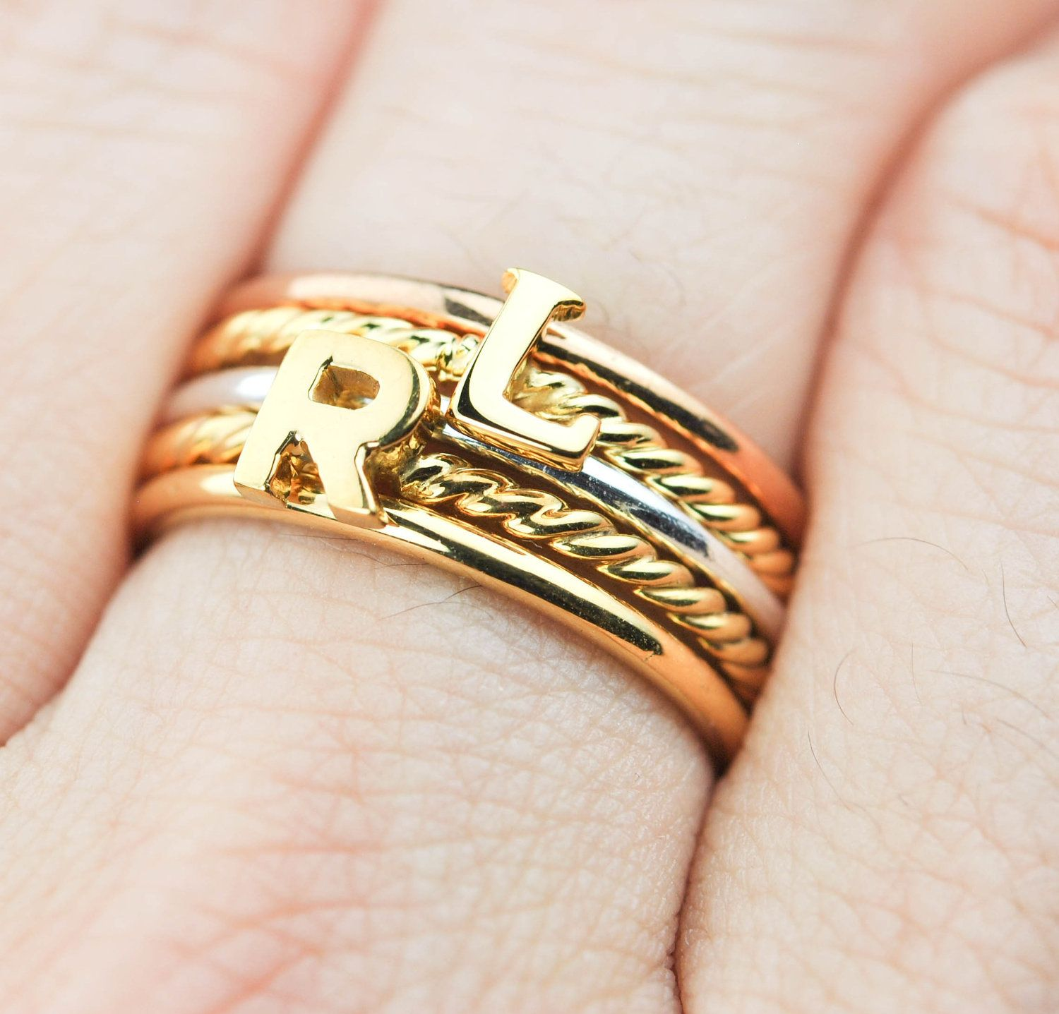 Bridesmaids ring Initial Ring Personalized initial ring Custom initial ring Gold Letter Ring Name ring Mom Ring Letter ring