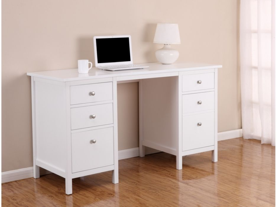 Bureau albane tiroirs porte pin blanc blanc pur