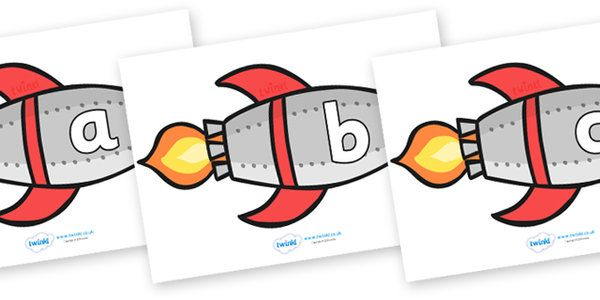 A-Z Alphabet on Rockets (lowercase) - Rocket, topic, space