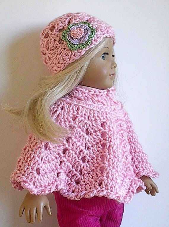 Light Pink 18 Doll Poncho Set With Flowered Hat Crocheted By