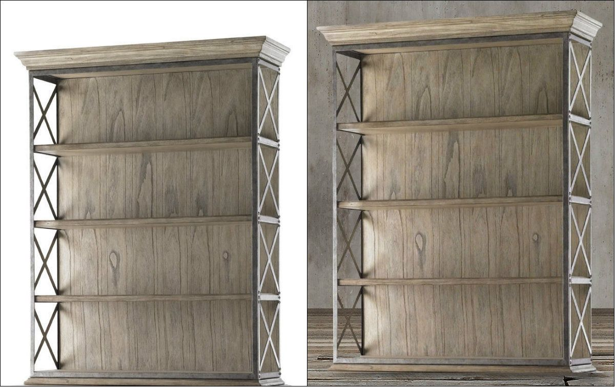 This appealing bookcase features a distinctive blend of luxury lifestyle and rustic vintage industrial design showcased in its three fixed shelves, metal x-design side, rivet effect and weathered wood finish for an eye catching masterpiece.