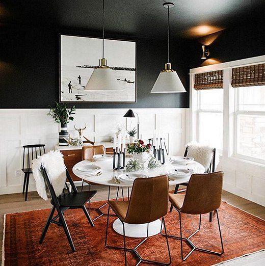 Black White Dining Room: #FeelingFall: Dramatically Dark Accent Walls