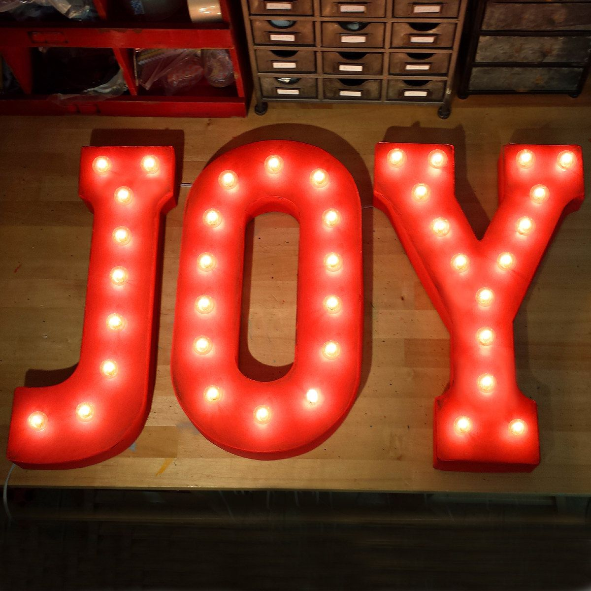 Red Metal Letters With Lights Joy Rustic Metal Letter Marquee Sign Light White Red Blue Green