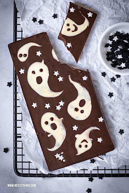 Halloween Süßigkeiten selber machen: Halloween Schokolade mit Geistern #repashalloween