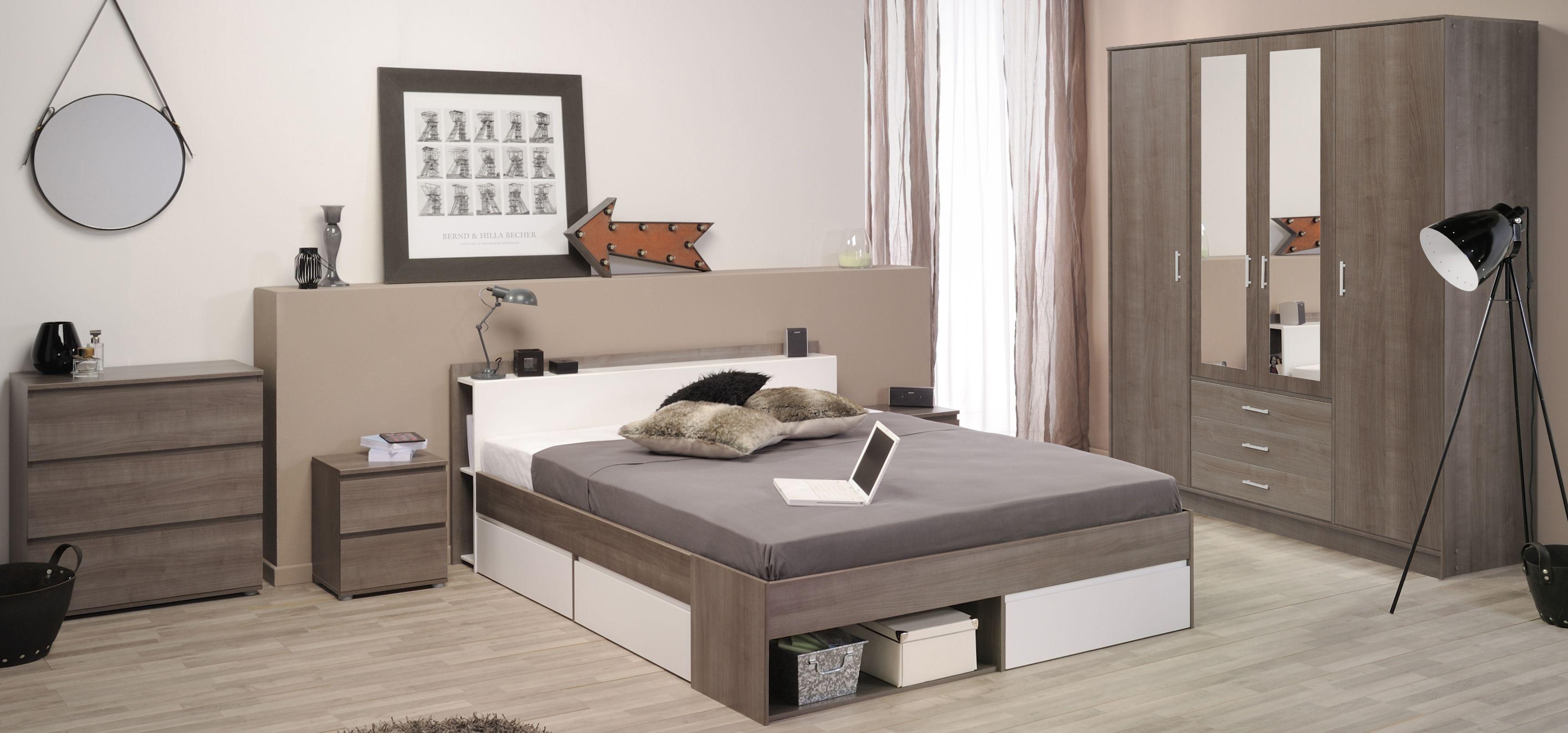 Schlafzimmer Mit Bett 140 X 200 Cm Eiche Silber/ Weiss Woody 167 ...