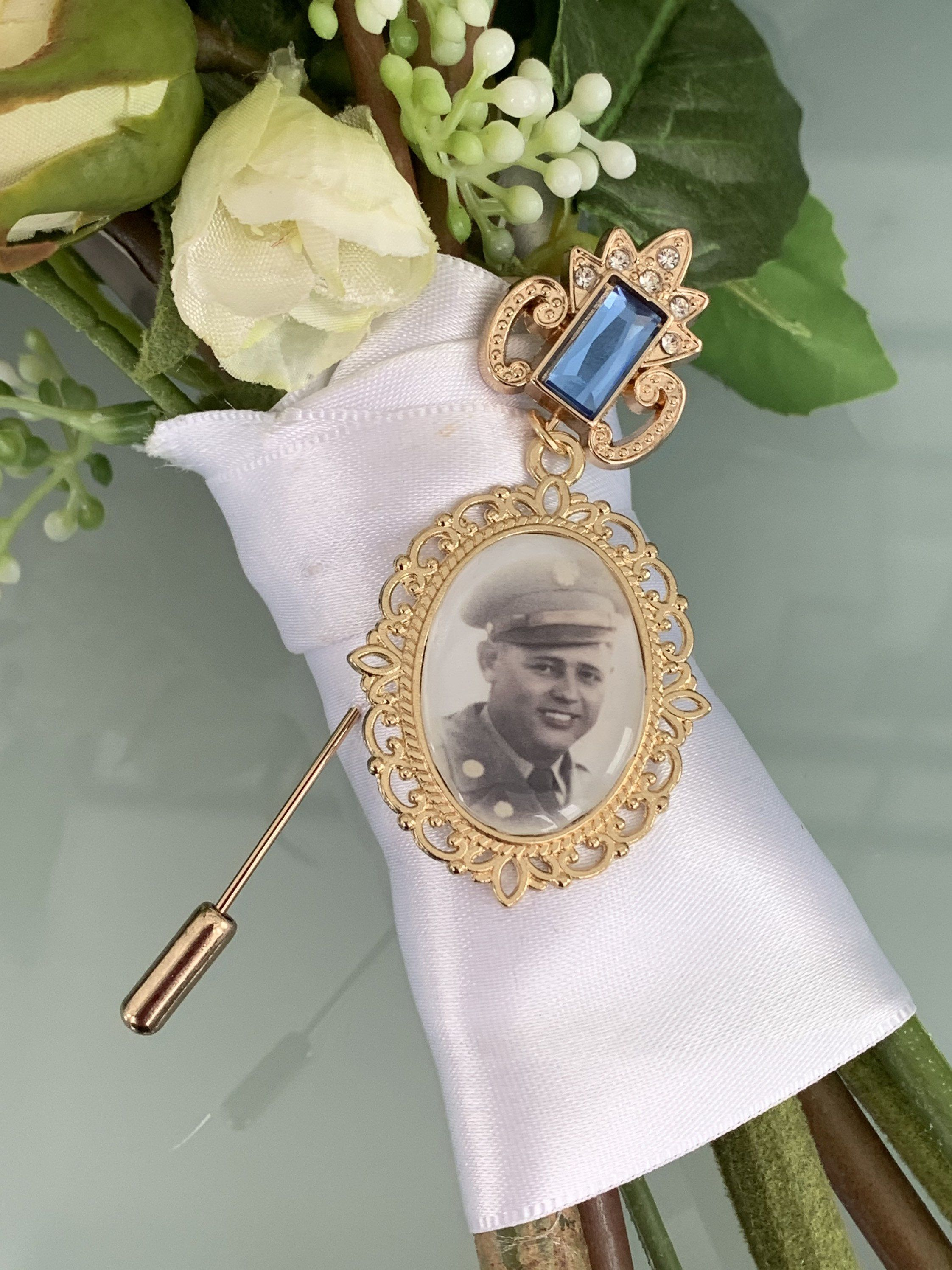 Custom Wedding Something Blue photo Memory charm  to attach to bride bouquet Gift for wedding bridal shower Remembering Loved ones