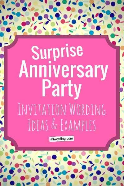 Surprise Anniversary Party Invitation Wording Anniversary party - invitation wording ideas for dinner party